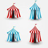 stock photo of circus tent  - Vector illustration of open circus tent with flag - JPG