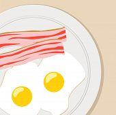 picture of bacon  - breakfast flat vector illustration eggs bacon breakfast flat vector illustration eggs bacon - JPG