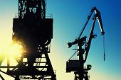 picture of loading dock  - Cranes at the port of loading to the sun and sky - JPG