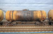 image of railroad car  - Oil tanker cars on the railway cargo station on a cloudy day - JPG