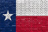 foto of texas star  - flag of Texas painted on brick wall - JPG