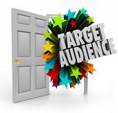 image of clientele  - Target Audience 3d words in an open door to illustrate searching for and finding niche prospects and clients through advertising and marketing - JPG