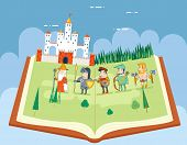 stock photo of fairies  - Fairy Tales History Books Reading Concept Symbol Castle Forest Field Sky Background Flat Design Icon Template Vector Illustration - JPG
