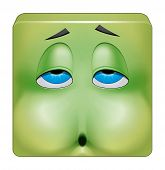 image of emoticons  - Illustration on white background of Square emoticon nausea - JPG