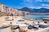 picture of old boat  - Wooden fishing boats on the old beach of Cefalu - JPG