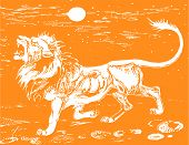 image of african lion  - vector graphics orange lion in the african savanna - JPG