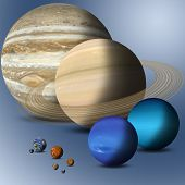 stock photo of comparison  - the big family of solar system planets full size comparison Elements of this image furnished by NASA - JPG