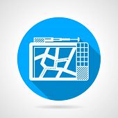picture of gps navigation  - Single blue circle vector icon with white silhouette GPS navigator on gray background - JPG