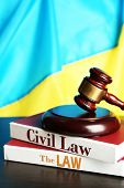 image of magistrate  - Wooden gavel and flag of Ukraine as background - JPG