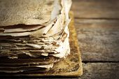 stock photo of hieroglyph  - Grunge papers with hieroglyphics  close up - JPG