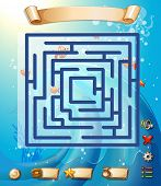 image of game-fish  - Puzzle game template with underwater scene - JPG
