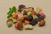 picture of mixed nut  - Fresh Nuts and dry fruits mix heap - JPG
