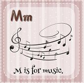 pic of letter m  - Flash card letter M is for music - JPG