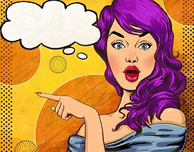 stock photo of valentine card  - Pop Art illustration of girl with the speech bubble - JPG