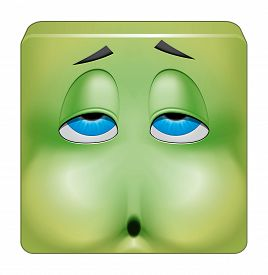 picture of emoticon  - Illustration on white background of Square emoticon nausea - JPG