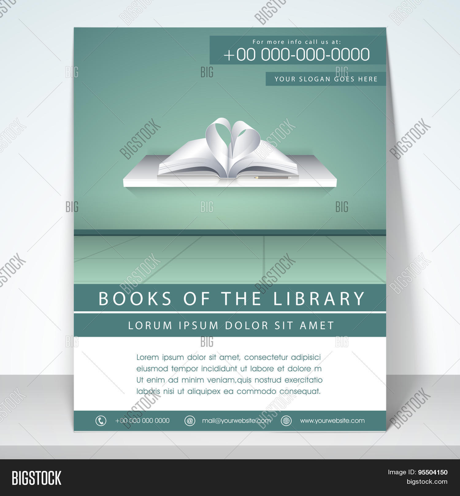 Stylish flyer, template and brochure for library with address bar ...