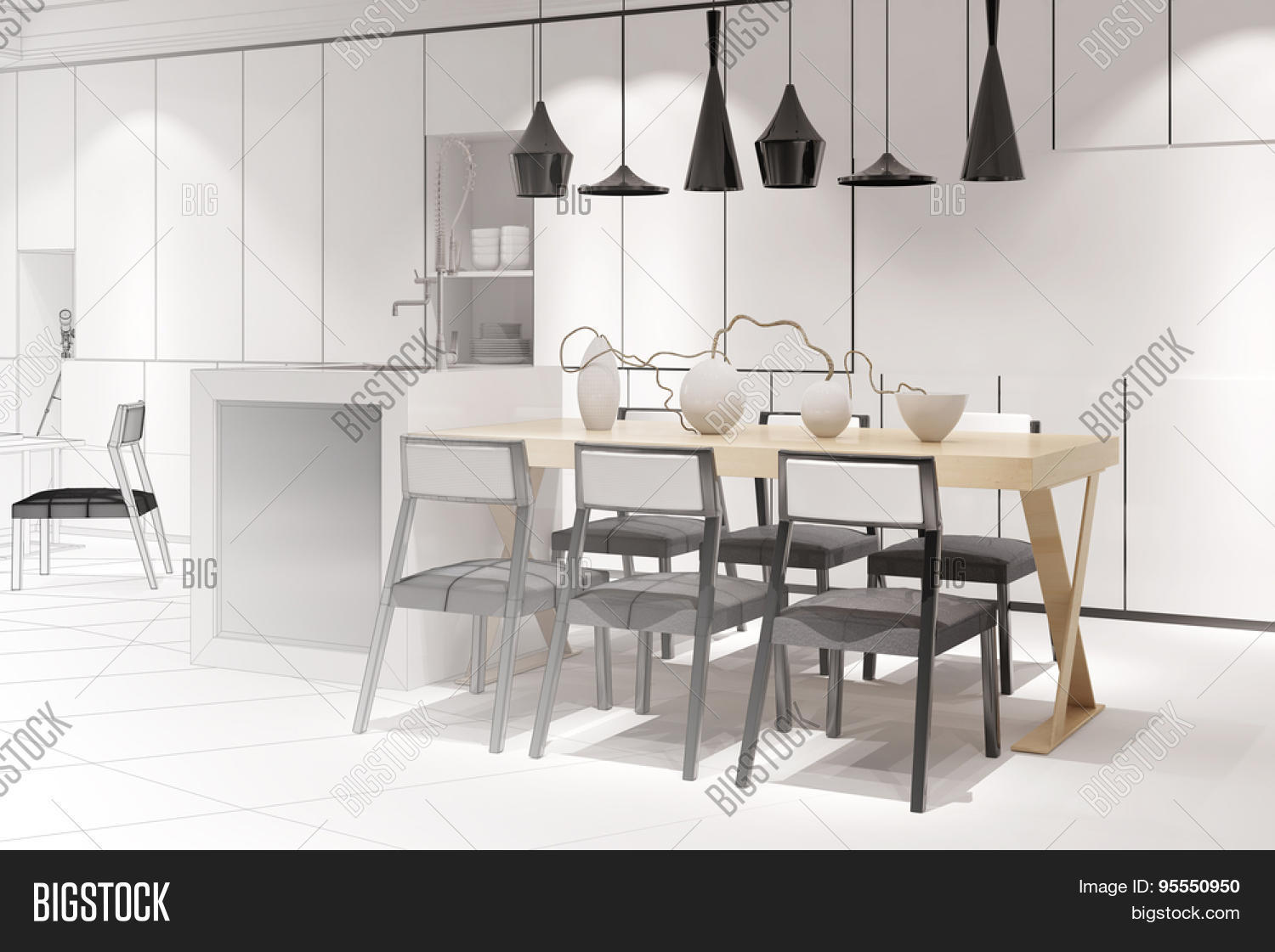sketch of a modern eat-in-kitchen with dining table from interior