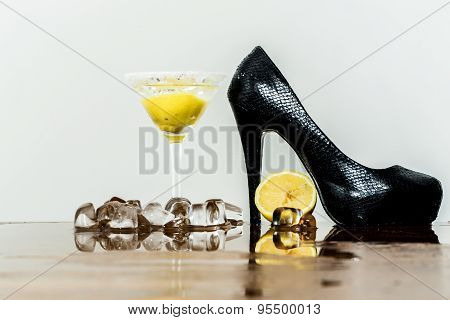 Shoe Cocktail And Ice Cubes