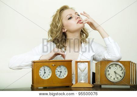 Pensive Woman With Clocks