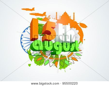 3D text 15th August in tricolors infront of Ashoka Wheel on floral design and famous monuments made by national flag colors background for Indian Independence Day celebration.