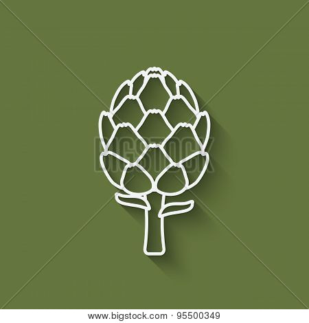 Artichoke Symbol On Green Background