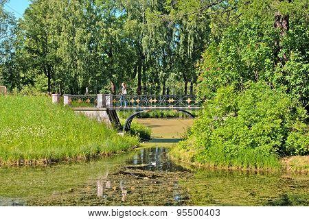 Tsarskoye Selo (Pushkin). Saint-Petersburg, Russia. Bridge in the Catherine Park