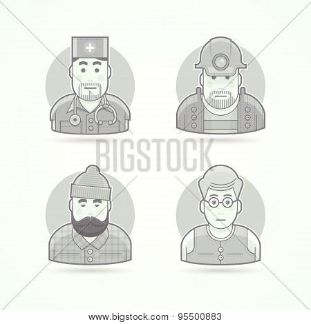 Doctor, mines worker, lumberjack, teacher icons. Avatar and person illustrations. Flat black and whi