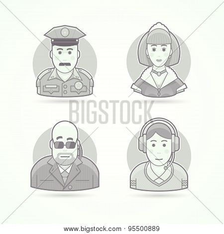 Police officer, maid, body guard, call operator icons. Avatar and person illustrations. Flat black a