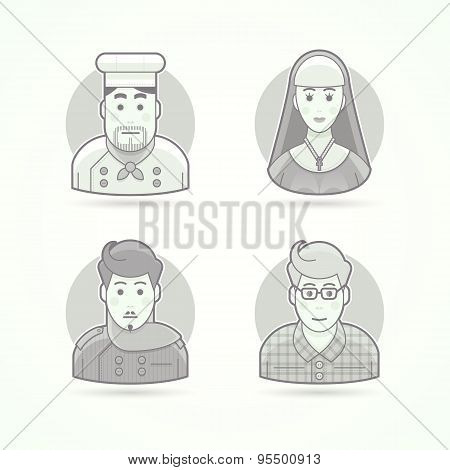 Cook, nun, stylist and designer icons. Avatar and person illustrations. Flat black and white outline