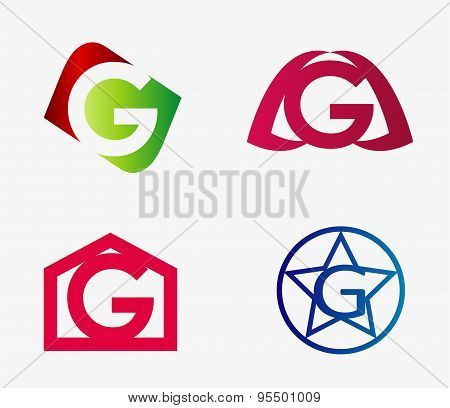 Vector set of abstract icons based on the letter g