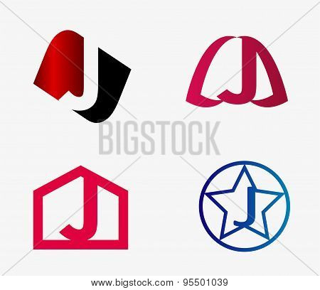 Vector set of abstract icons based on the letter j