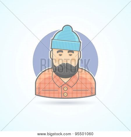 Lumberjack, man with beard, hipster, woodman icon. Avatar and person illustration. Flat colored outl