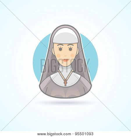 Nun, sister, cloitress icon. Avatar and person illustration. Flat colored outlined style.