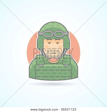 Soldier, military man icon. Avatar and person illustration. Flat colored outlined style.
