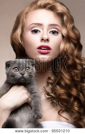 Beautiful young girl,  natural light makeup and curls with a cat in her arms. Beauty face.