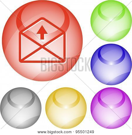 mail up arrow. Vector interface element.
