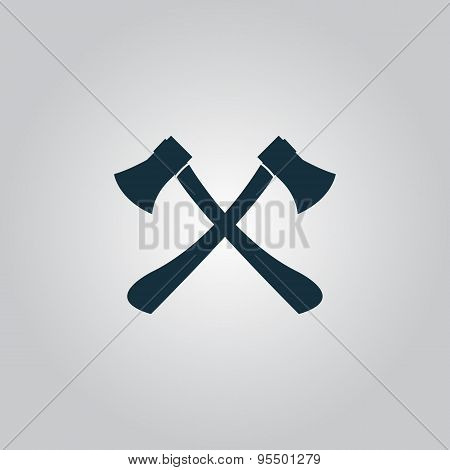 Two axes with wooden handles vector illustration