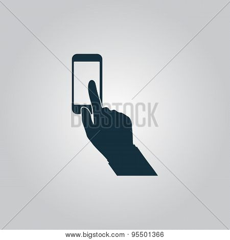 Smart phone, finger clicking vector