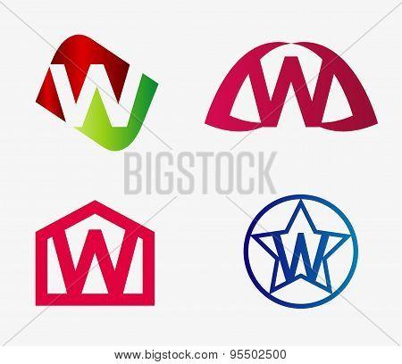 Letter w logo icon set
