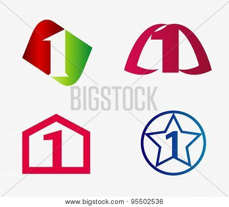 Vector sign number one logo set