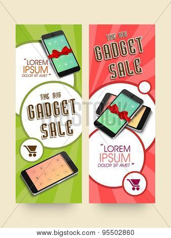 Gadget sale website header or banner set with smartphone.