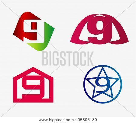 Number nine logo template. Abstract icon set