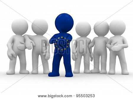 3d small person the leader of a team allocated with EC flag. 3d image. Isolated white background.