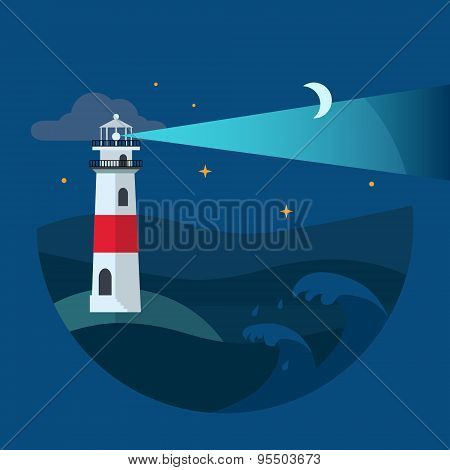 Lighthouse in night sea. Flat Vector