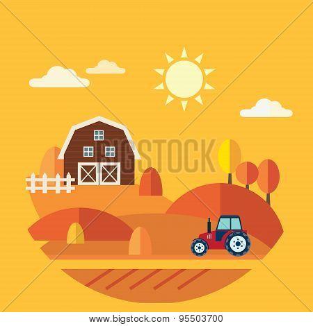 Flat Design Vector Concept of Farm Landscape