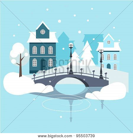 Winter Urban Landscape Flat Design.