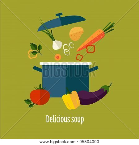 Recipe Vegetarian Vegetable Soup Illustration