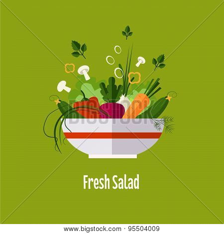 Vegetable salad, healthy food, diet. flat style