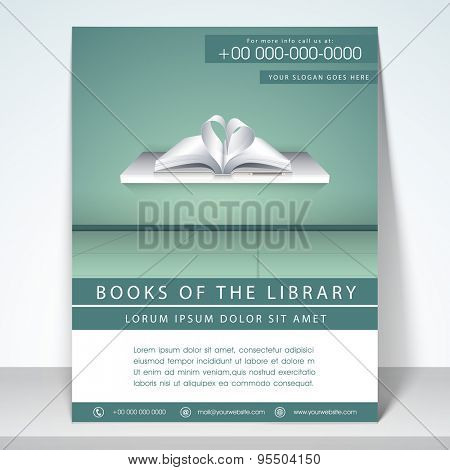 Stylish flyer, template and brochure for library with address bar and mailer.