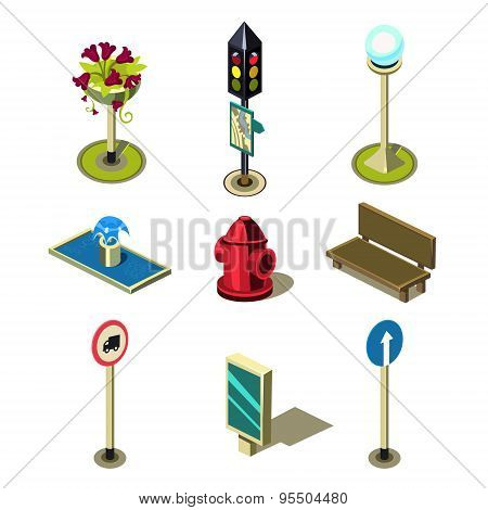Flat 3d Isometric High Quality City Street Urban Objects Icon Set